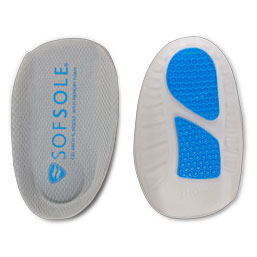 Pair of grey and blue gel arch memory foam insole on white background, one insole front facing, one insole shown from the back.