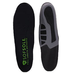 Pair of black full length orthotic insoles on white background with one front facing and one back facing.