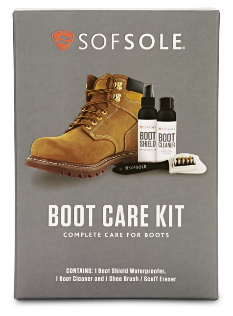 The Sof Sole® Boot Care Kit includes a boot cleaner, boot shield for waterproofing, and a brush.