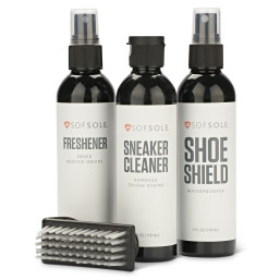 Sof Sole® Sneaker Care Kit inclues shoe cleaner, shoe deodorizer, waterproof spray and more.