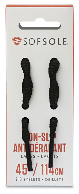Sof Sole® No-Slip Laces (Black) are replacement shoelaces featuring a wavy shape to keep laces securely in place.