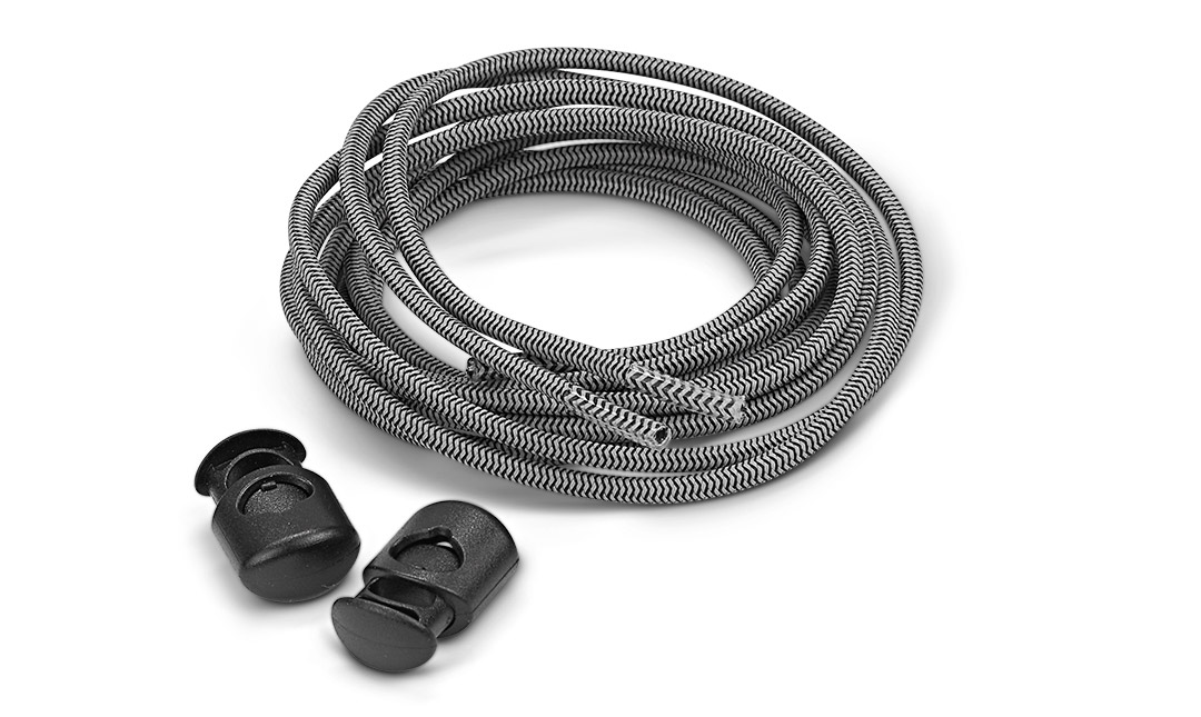 Sof Sole® Reflective Laces (Black) are no-tie, secured with a fastener, so shoelaces stay tied during athletic activity.