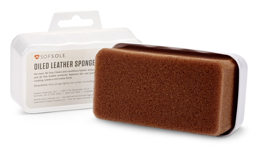 The Sof Sole® Oiled Leather Sponge provides shoe care to revive and restore old leather.